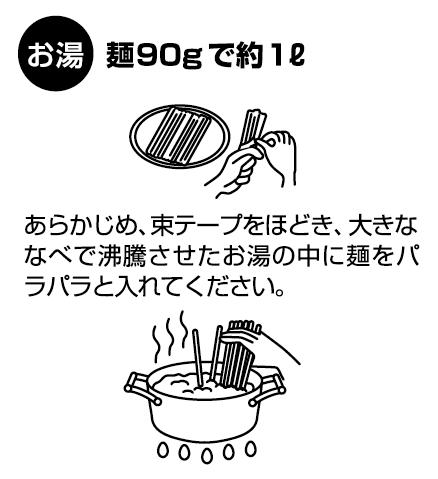 「お湯」麺約90gで約1l